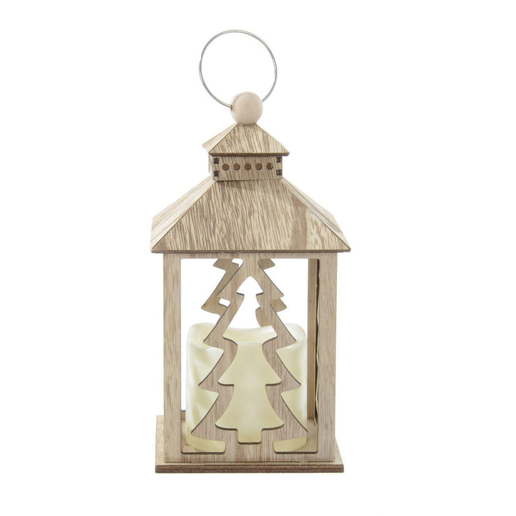 wooden lantern decoration with Christmas Tree design and flickering LED candle side view