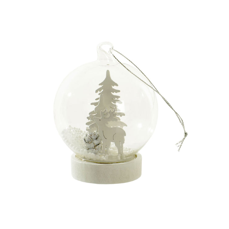 glass globe tree decoration featuring white wooden reindeer and tree design with mini white pine cone
