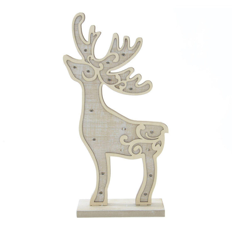front view of wooden reindeer decoration