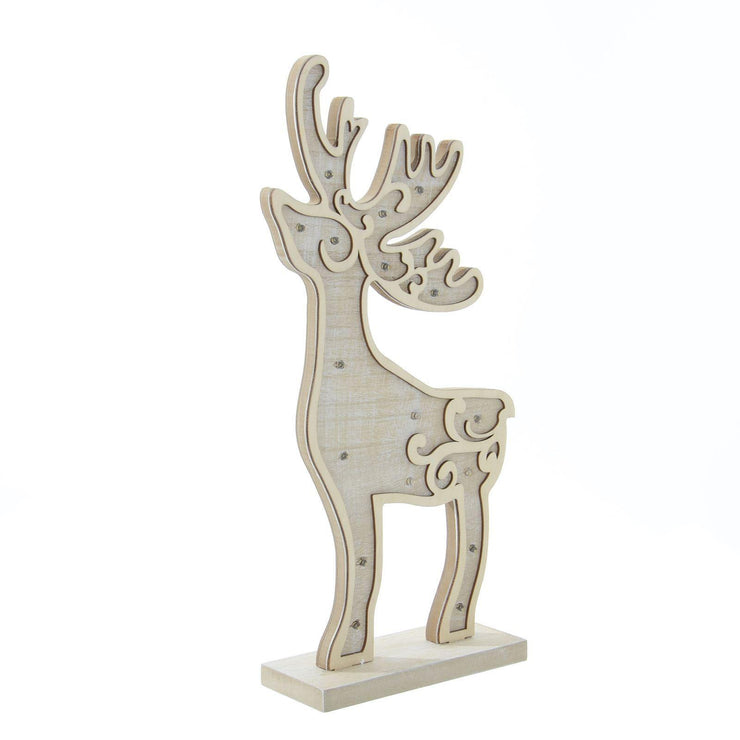 side view of reindeer decoration with warm white led lights