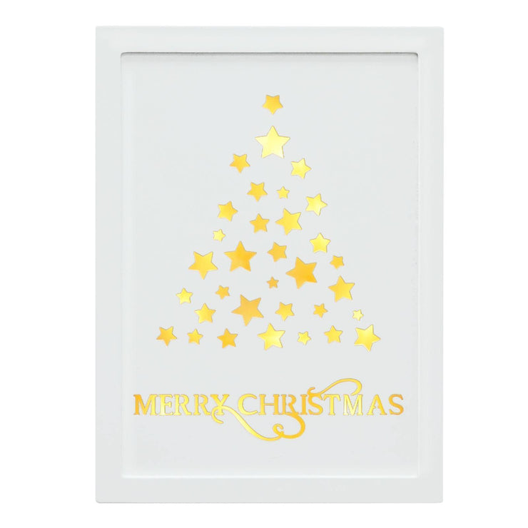 29 x 21cm white wooden wall plaque with stars christmas tree design and Merry Christmas text lit in warm white