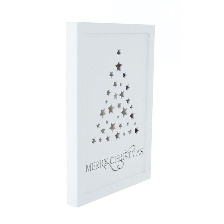 29 x 21cm white wooden wall plaque with stars christmas tree design and Merry Christmas text shown un-lit