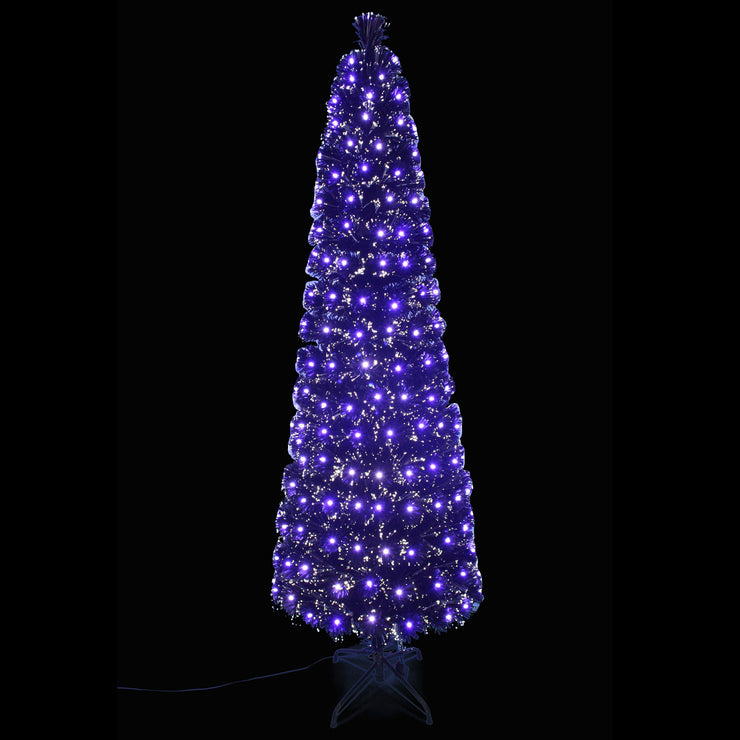 6ft slim black fibre optic christmas tree with bright white lights