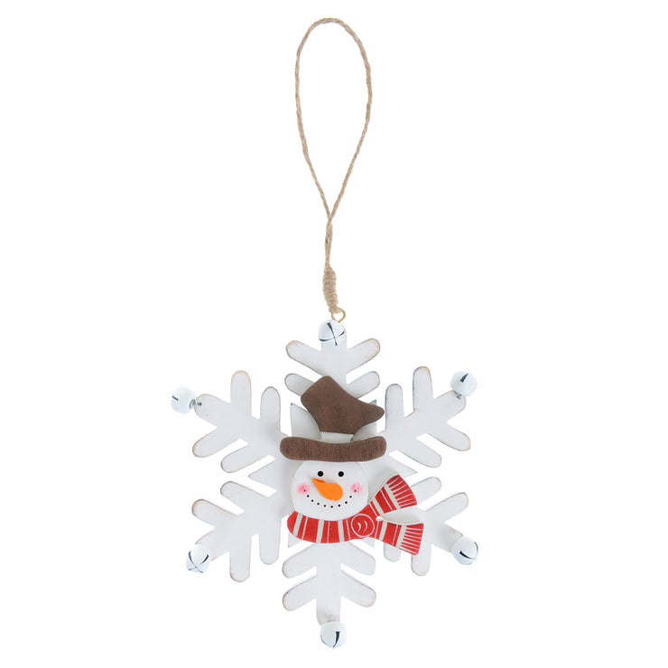 white wooden snowflake decoration featuring snowman head with brown top hat and red and white striped scarf