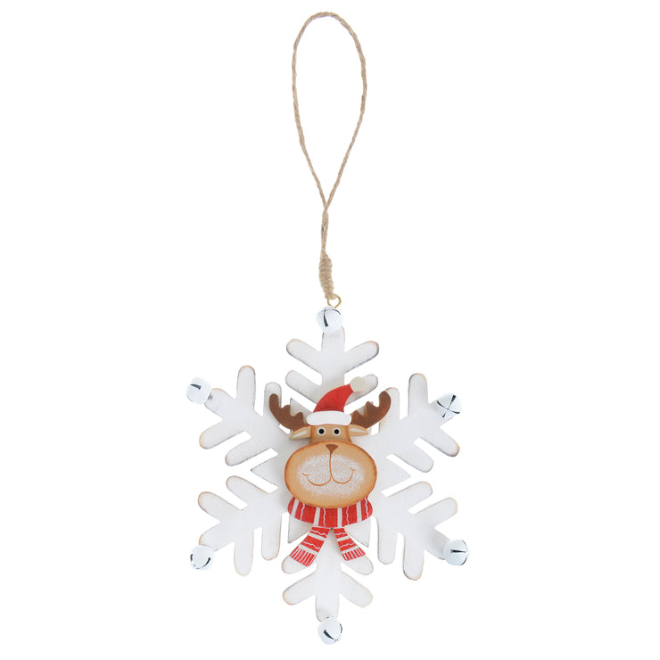 white wooden snowflake decoration featuring reindeer head with red santa hat and red and white striped scarf