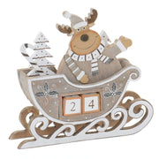 wooden reindeer in sleigh with christmas tree and candy cane and two wooden blocks with numbers