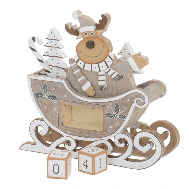 reindeer sleigh decoration with removed wooden number blocks