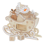 snowman wooden countdown calendar with wooden blocked removed
