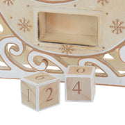 detail shot of wooden blocks with hand painted numbers