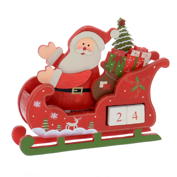 wooden santa calendar featuring countdown blocks