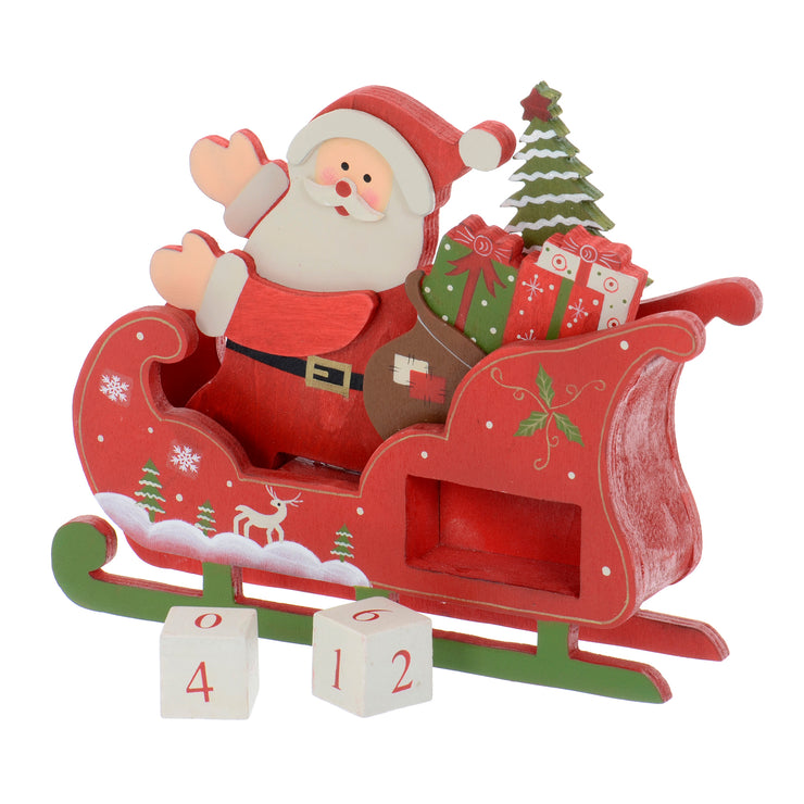 side view of wooden santa sleigh with countdown blocks outside of calendar