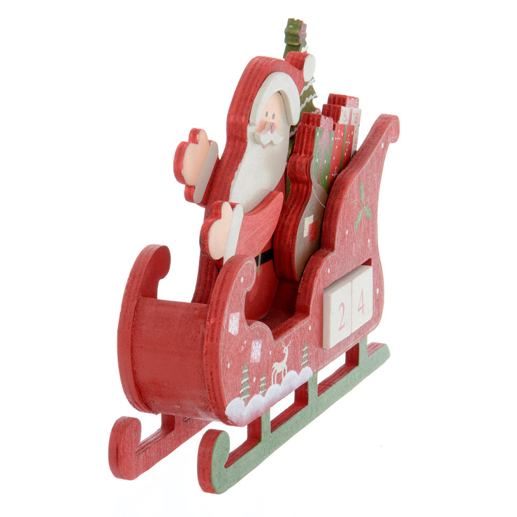 front view of santa sleigh countdown advent calendar