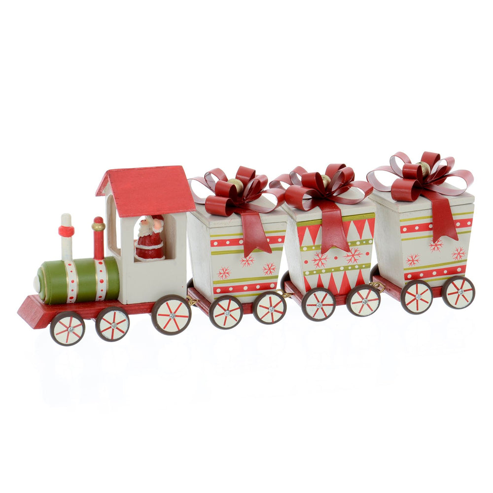 Mr Crimbo Wooden Christmas Train Decoration Hand Painted