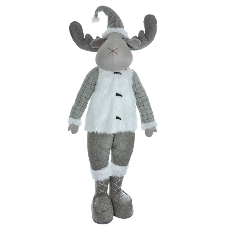 138cm reindeer christmas figure featuring grey and white faux fur winter outfit