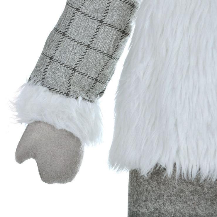 close up of grey tartan print jacket with white faux fur trim