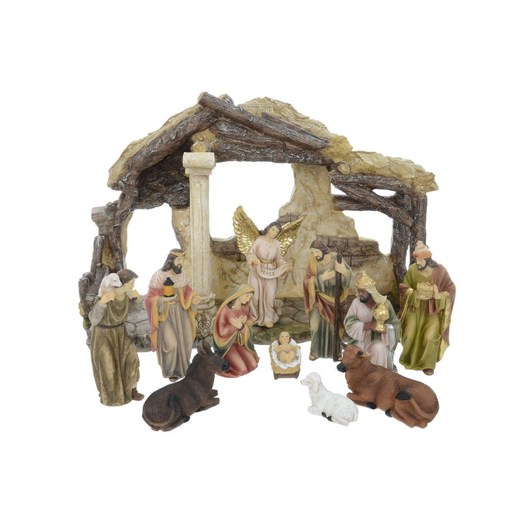 alternative set-up of nativity scene with moveable characters including baby jesus