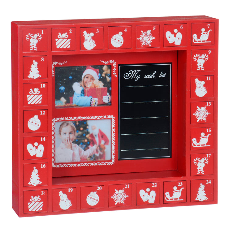 red wooden advent calendar with chalkboard with list and photo slots