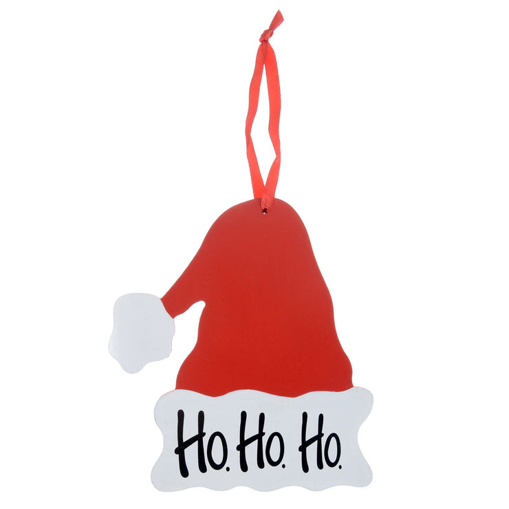 wooden santa hat tree decoration with 'Ho Ho Ho' slogan
