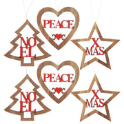wooden tree decorations with 'Peace', 'Noel' and 'Xmas' designs