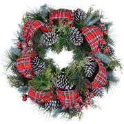 "24"" red tartan christmas wreath with pine cones"