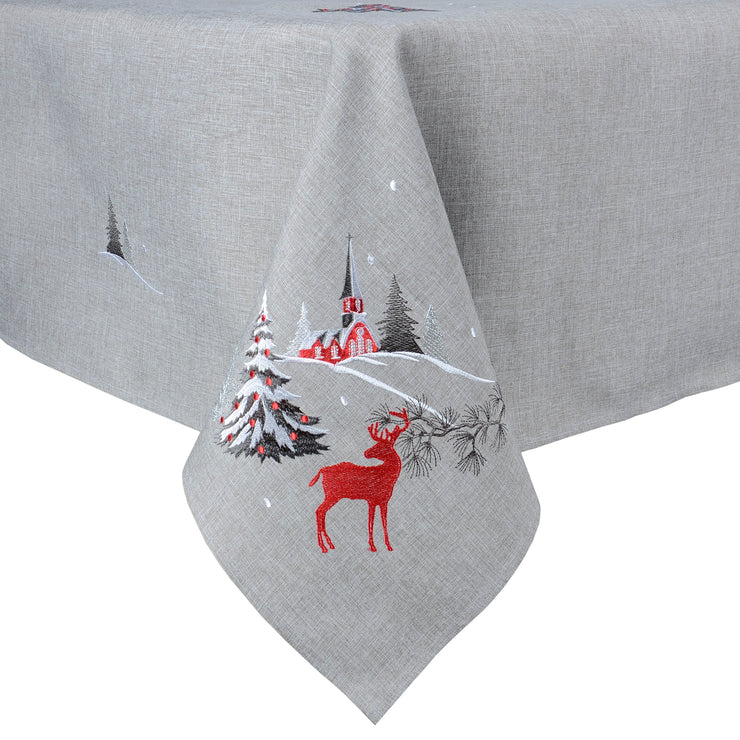 winter scene christmas tablecloth with red embroidered reindeer and christmas church scene