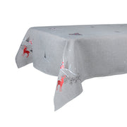 "52 x 90"" grey christmas table cover featuring winter reindeer scene"