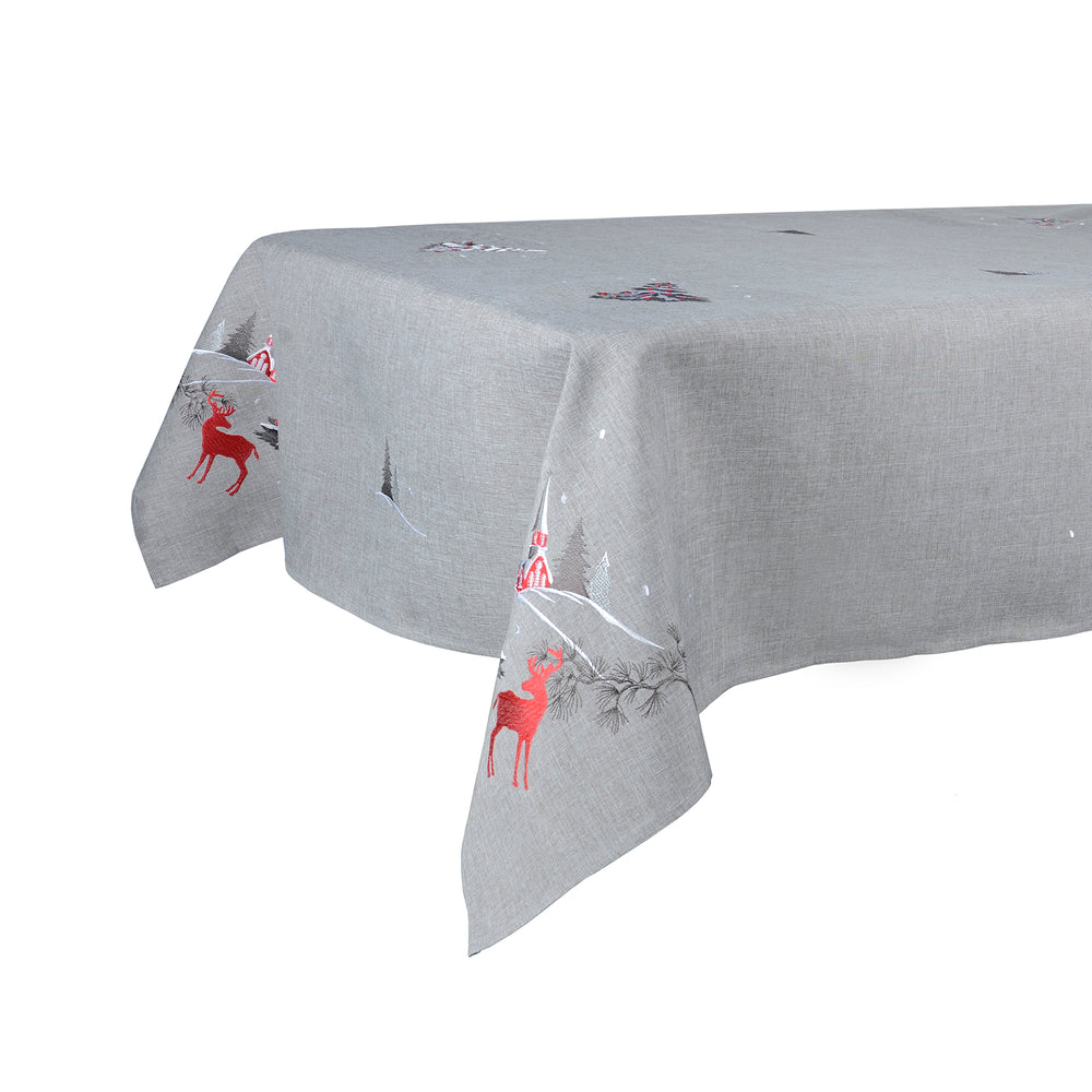 Mr Crimbo Christmas Winter Scene Reindeer Tablecloth/Napkin