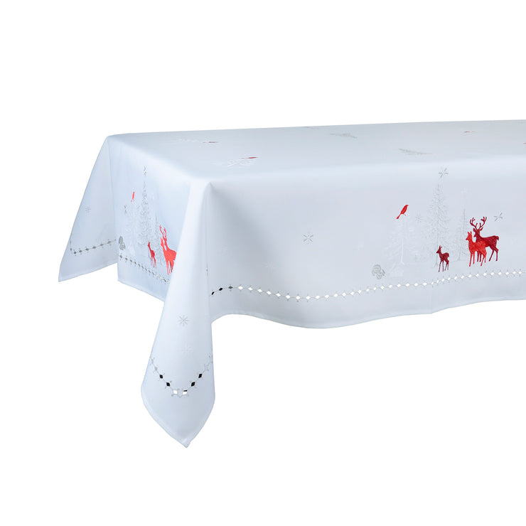 "52 x 90"" white tablecover with embroidered woodland scene"