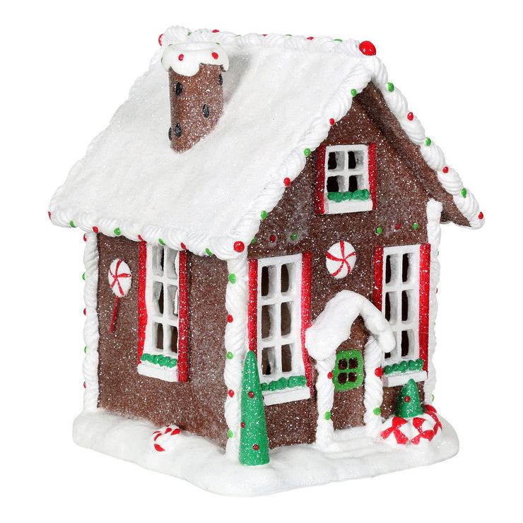 side view of gingerbread house christmas tree ornament
