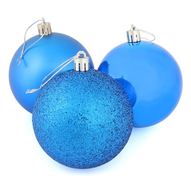 blue christmas tree baubles with glitter, shiny and matte designs