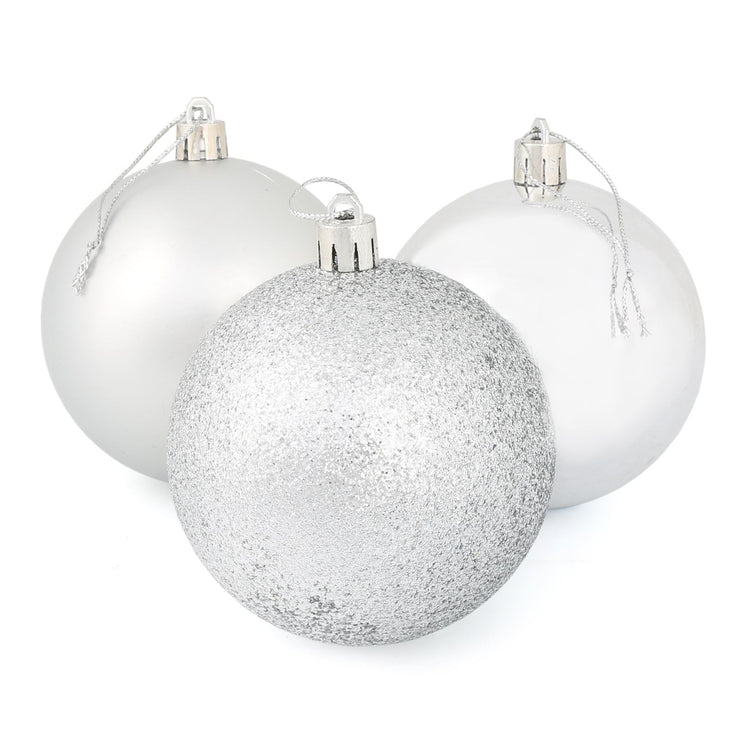 silver christmas tree baubles with glitter, shiny and matte designs