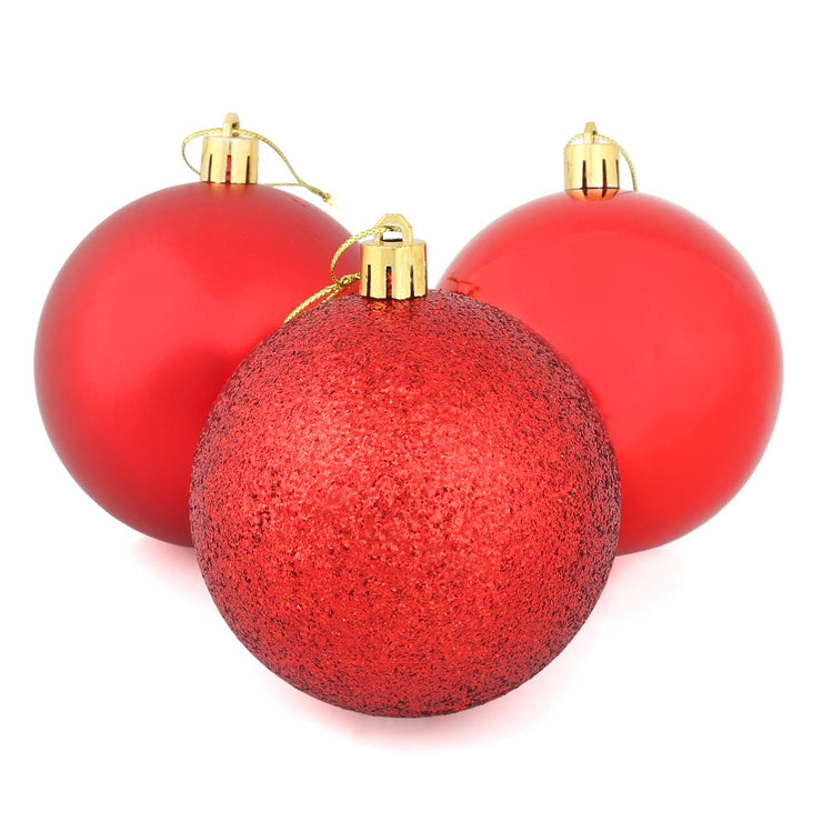red christmas tree baubles with glitter, shiny and matte designs