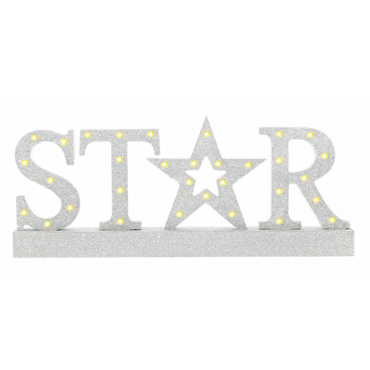 front view of christmas 'STAR' sign featuring silver glitter finish with warm white led lights