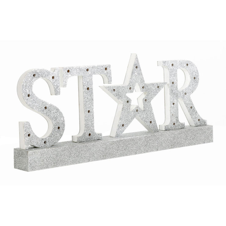 side view of star glitter wooden christmas sign