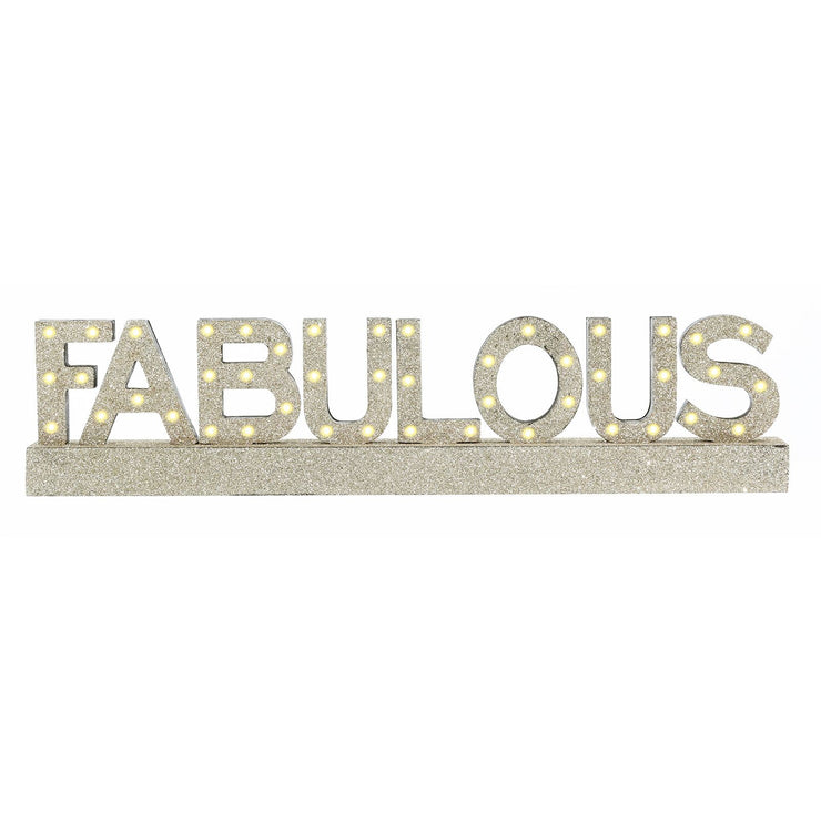 front view of fabulous gold glitter sign with warm white led lights