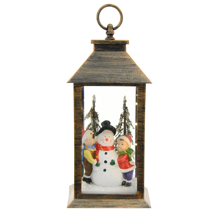 bronze christmas lantern with mini led lights and snowman with kids ornament inside