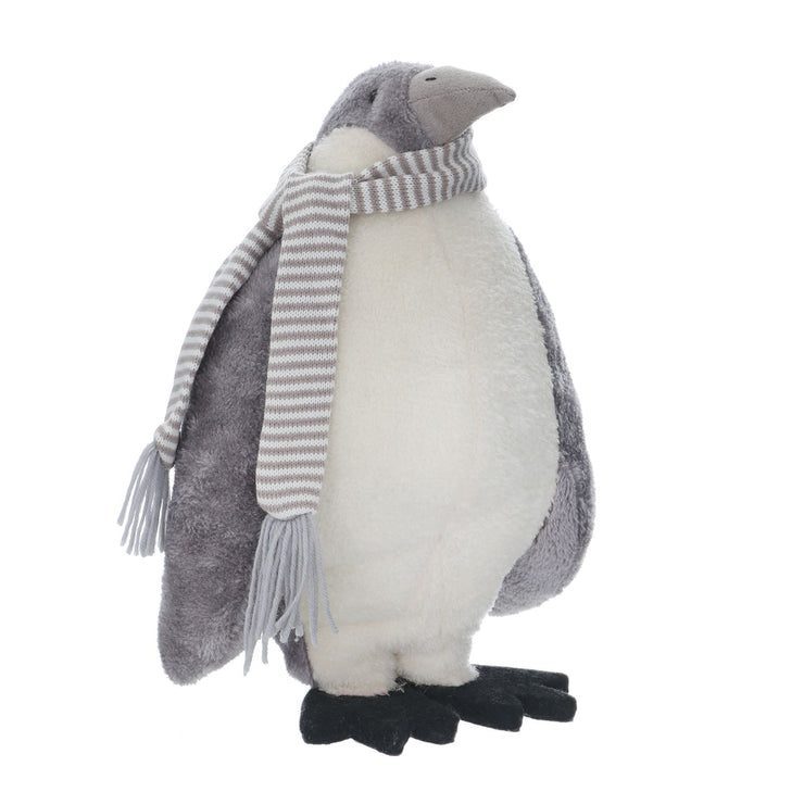 36cm standing grey penguin figure with grey striped scarf