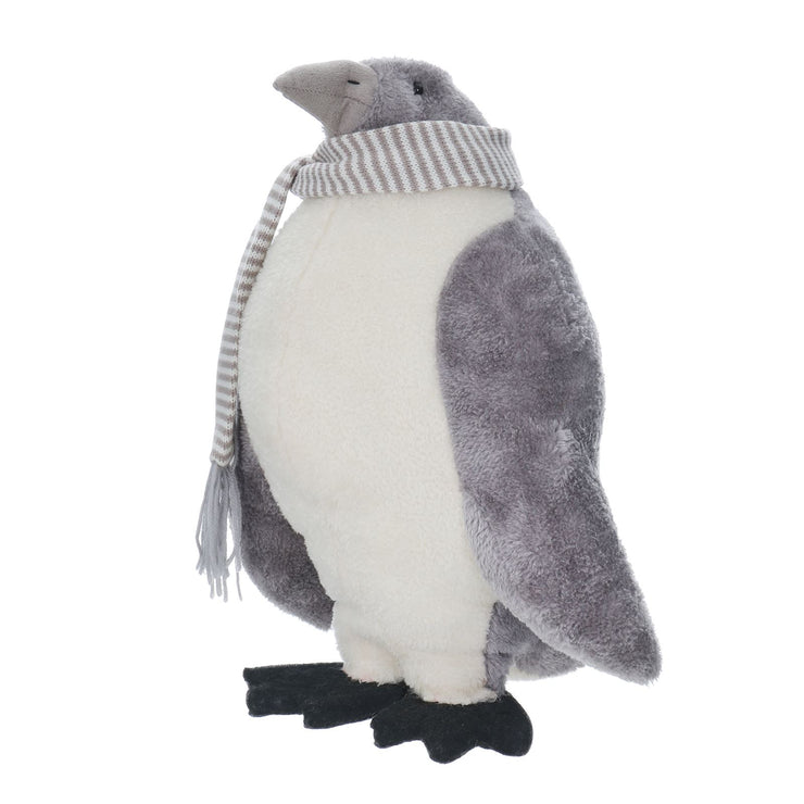 side view of grey freestanding penguin figure decoration