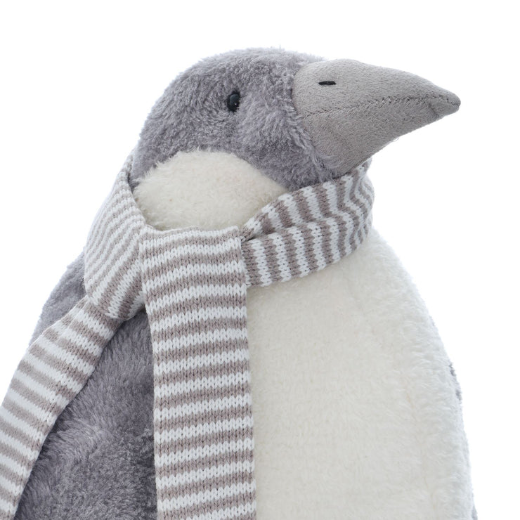 detail shot of grey penguin with soft fluffy exterior