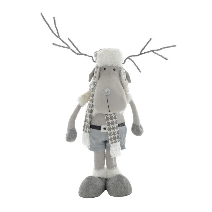 grey poseable reindeer decoration with bendable antlers