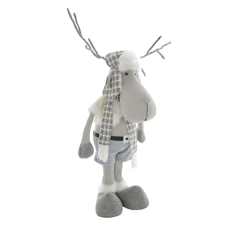 side view of standing reindeer figure with poseable grey antlers