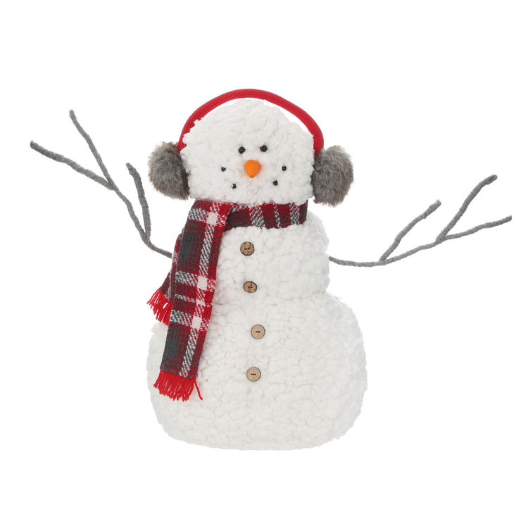 front view of 52cm snowman featuring grey twig branch arms, a tartan scarf and wearing faux fur red and grey earmuffs