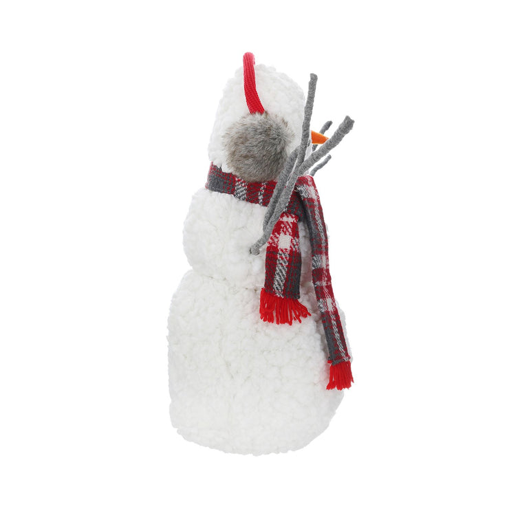 side view of fluffy snowman decoration