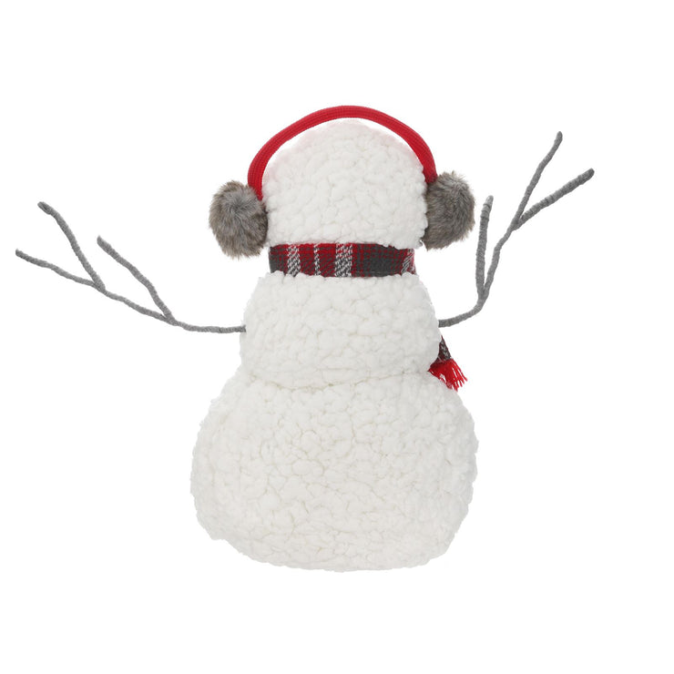 back view of fluffy snowman decoration