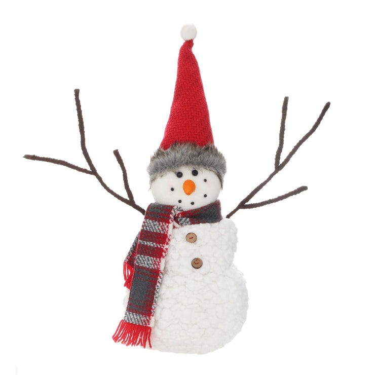 snowman christmas figure with hat and scarf