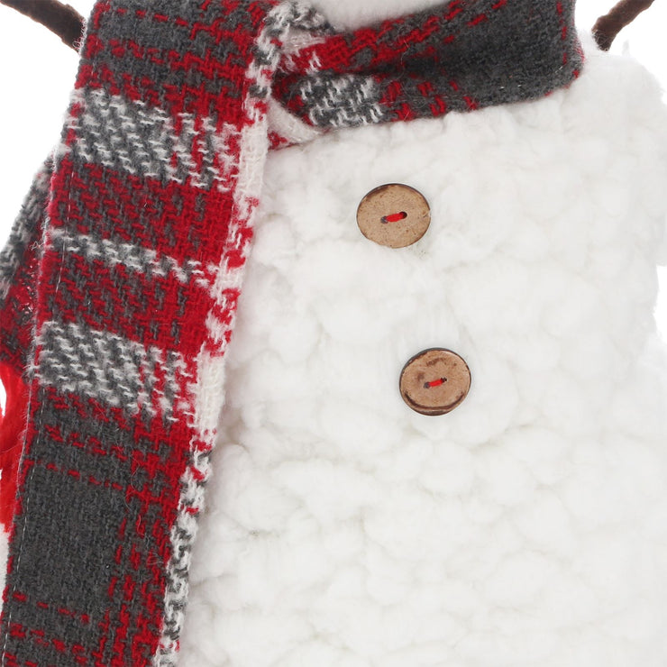 red and grey tartan scarf