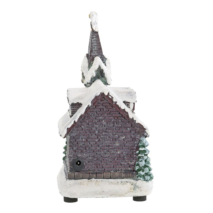 church snow scene ornament with power socket