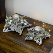 rustic christmas candle holders on coffee table available in 20cm and 25cm sizes