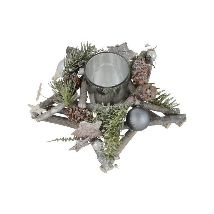 20cm christmas candle holder with twigs, pine cones and silver baubles with tealight holder in the centre