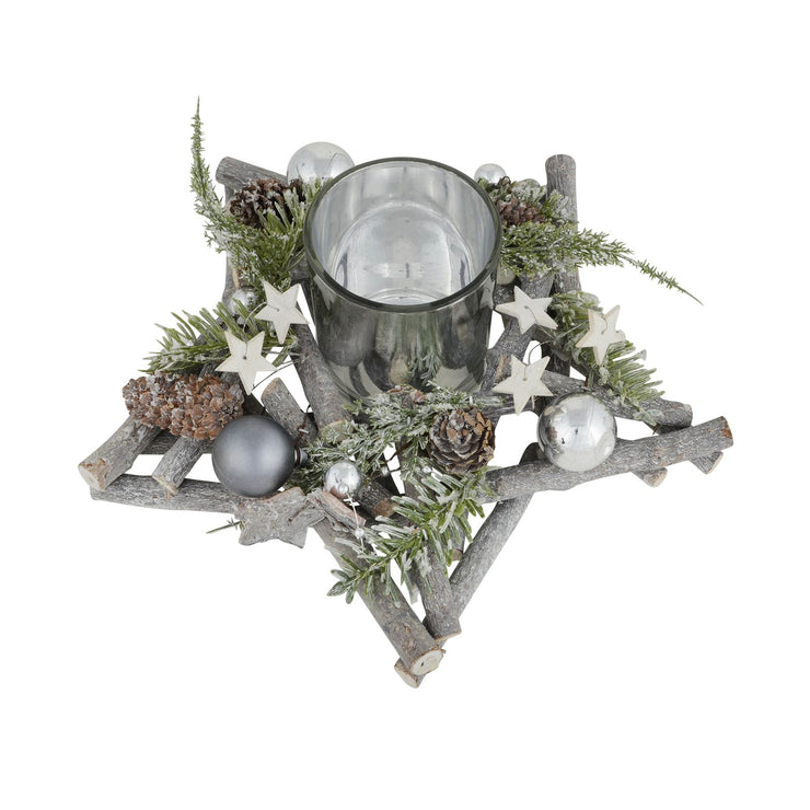 25cm christmas twig star candle holder with pine cones, mini stars and silver baubles with candle holder in the centre